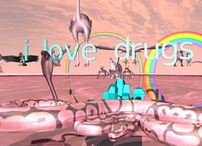 "three pink rabbits are on top of a very large crystal. a large pink shiny lake is under the crystal. a shiny pink snake is in front of the crystal. a small soft pink snake is right next to the crystal. the ground is shiny and pink. the small shiny teal ""i love drugs"" is above the rabbit. there are twelve small pink birds behind the ""i love drugs"". there are 2 rainbows 300 feet behind the ""i love drugs"""