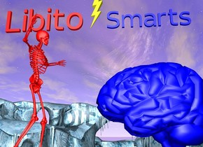 "The 300 foot tall red skeleton is on the ground. The 200 foot long red ""Libito"" is above the skeleton. The 200 foot tall blue brain is 100 feet in front of the skeleton. The brain is facing the skeleton. The 200 foot long blue ""Smarts"" is 100 feet above the brain. The ""Smarts"" is facing the left. The ""Libito"" is facing the left. The 100 foot long yellow lightning bolt is 5 feet behind ""Smarts"". The lightning bolt faces the left."