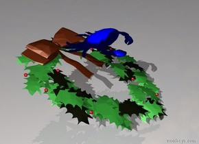 There is a holly. There is a crab on the holly. Crab is huge. Crab is blue.