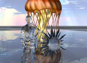 20 foot tall jellyfish is in 30 foot tall transparent cube. transparent girl is in transparent cube 10 feet in front of jellyfish. transparent sun symbol is in transparent cube 10 feet in front of jellyfish. the ground is [jellyfish].