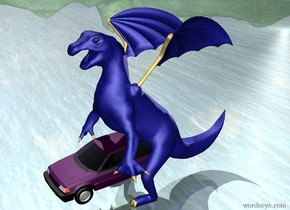 the light blue [scales] dragon is on the ground. the purple car is -9 feet in front of the dragon. the car is 2.5 feet off the ground. the light is 50 feet to the left and 100 feet behind the car