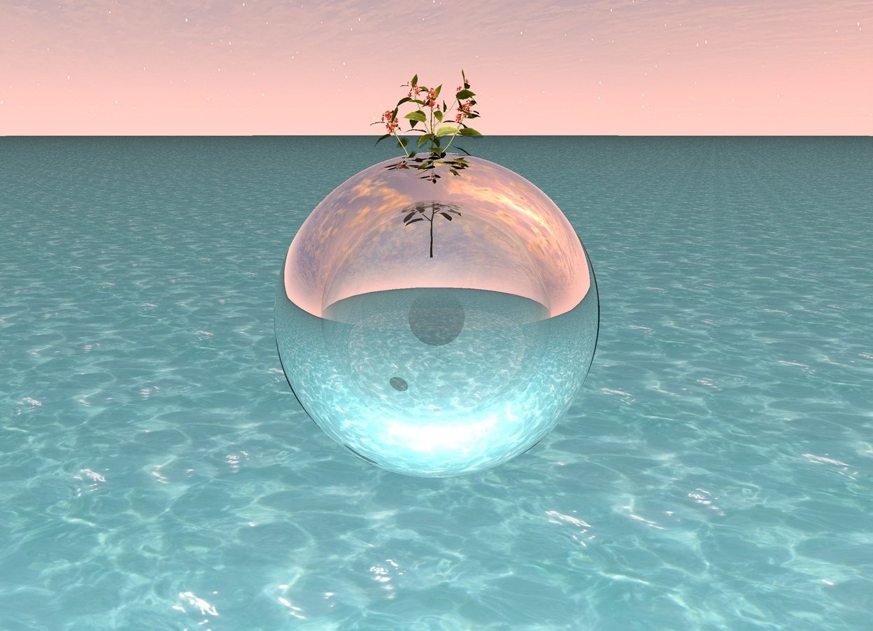 Input text: A clear orb is 8 feet off the ground. The flower is inside the orb. The ground is water.