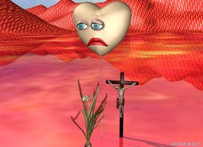 there is a balloon that is tan. there is a frown 2 inches in front of the balloon.the frown is 1.4 feet above the ground. there are eyes 1 inches above the frown. there is an onion 3 inches in front of the balloon. the onion is 1 foot high. there is a cross behind the balloon. the cross is to the right of the balloon. the cross is 1 foot high. the ground is fire