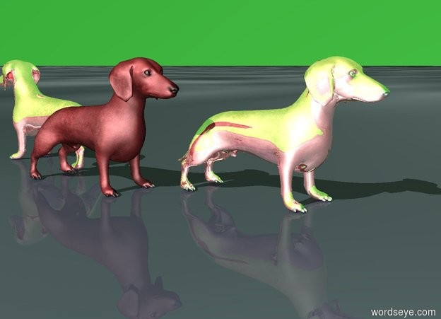 Input text: There is a red dachshund. A red reflective dachshund faces the back of the red dachshund. The red reflective dachshund is 1 foot in front of the red dachshund. The ground is matrix. The sky is green.
