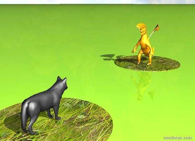Input text: There is a huge 1st circle. The 1st circle is grass. On the top of the 1st circle is a dark grey wolf. 10 foot in front of the 1st circle is 2nd huge grass circle. There is a tiny orange lizard on the 2nd circle. The lizard is facing the wolf. The ground is light green yellow.