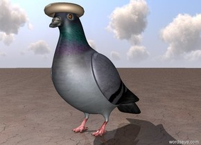 A bagel is -0.22 feet above and -1 foot in front of a giant pigeon. The bagel is facing up. The ground is dirty.
