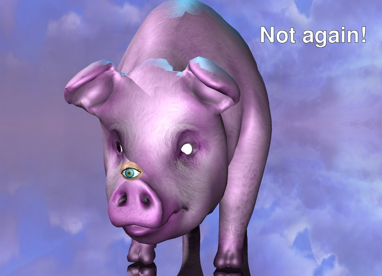 Input text: the ground is silver. there is a pig. the pig is magenta. there is a cyan light above the pig. the small eye is in front of the pig. it is 8 inches above the ground. there is a tiny white disk in front of the pig. the disk is .40 inch tall and .50 inch wide. it is .40 inches deep. it is 9.3 inches above the ground and -3.89 inches to the right of the pig. it is facing right. it is leaning 90 degrees to the left.