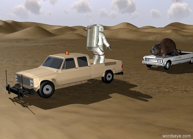 Input text: The tan truck was in the desert. The blue and white  car is 10 feet behind the truck. The big gun  is on the car. The man is on the truck. The bullet is 2 feet in front of the gun. The man is facing the car. The huge  beaver is in the car.