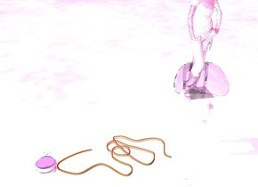 the glass girl is on the glass chair. the rope is on the ground. the ground is silver. The sky is violet. Bubble under the glass chair. Bubble is 2 feet above the ground. red light is on rope. giant glass pocket watch beside rope. it is facing up.