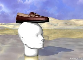 Shoe on head. Gold ground.