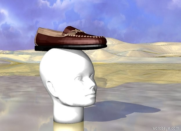 Input text: Shoe on head. Gold ground.