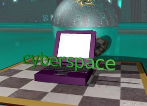 "the giant computer is purple. the giant computer is 3 feet wide. the ""cyberspace"" is on the giant computer. the ""cyberspace"" is 6 feet wide. the ""cyberspace"" is green. the giant computer is on the giant checkerboard. the giant checkerboard is 10 feet wide and 10 feet deep. the sky is [computer]. the ground is [grid]. the silver sphere is behind the giant computer. the silver sphere is 6 feet wide."