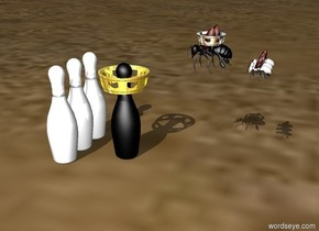 three white bowling pins are on the ground. One black bowling pin is .25 feet in front of the three white  bowling pins. A small gold crown is .25 feet in the black bowling pin. A giant black bee is .5 feet in front of the black bowling pin. A tiny silver crown is .15 feet in the giant black bee. The giant black bee is facing the black bowling pin. the black bee is one foot above the ground. Three large white bees are .15 feet in front of the giant black bee. The three large white bees are facing the black bowling pin.