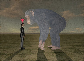 There is an ape. There is Donald Trump. The ape is in front of Donald Trump. The ape is facing Donald Trump. The ape is large. The ground is grass. It is dawn. There is a small pink heart 1 inch above the man. The heart is facing east. The sky is cloudy.