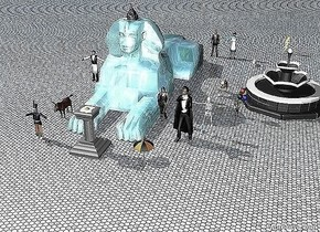 There is a small water sphinx. An doctor is 3 feet to the right and 1 foot behind the sphinx. A large bunny is 2 feet to the right and 2 feet in front of the doctor. There is a very large egg on a grey pedestal. The pedestal is 1 foot in front of the sphinx. The ground is tile. There is a waiter to the left of the sphinx. There is Dracula 2 feet behind and 8 feet to the right of the pedestal. There is a woman 8 feet behind and 4 feet to the right of the pedestal. There is a large dog 6 feet to the right of the sphinx. There is a dove 4 feet to the left of the pedestal. There is a boy 2 feet to the right of the dog. There is a man 6 inches to the left of the doctor. There is a large rocky pyramid on the sphinx. There is a very large eye on the pyramid. There is a fountain 2 feet to the right of the dog. There is a musician 4 feet to the left of the pedestal. There is a donkey 4 feet behind the musician. There is a skeleton 12 feet in front of the dog. There is a large lightning bolt 20 feet behind the fountain. There is a hamster on an umbrella. The umbrella is 4 feet to the right of the pedestal. There is a mushroom in front of the musician.