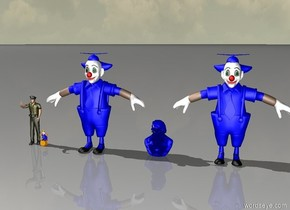 Four blue dancers. A small yellow uncle stands next to them.
