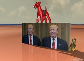 A [image-9106] dog is on a tiny [trump] wall. A rainbow skunk is to the right of the wall. The ground is [manytrump]. The ground is tiny.