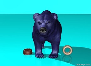 The blue bear. Donuts to the right of the bear. Cake to the left of the bear. The ground is cyan. The sky is cyan.