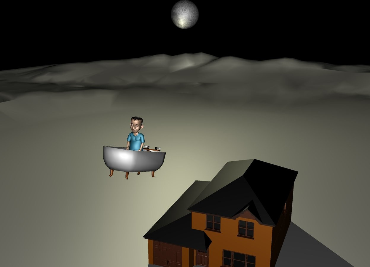 Input text: the big tub is leaning. it is leaning backwards. the boy is in the tub.  the tub is 30 feet above the ground. the house is 20 feet behind the tub. it is on the ground. it is night. the enormous pale yellow moon is 100 feet behind the boy. it is 30 feet to the left of the boy. it is 40 feet above the ground. the pale yellow light is in front of the moon.