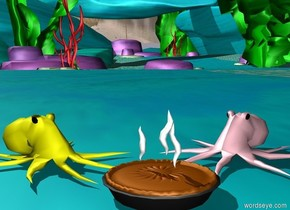 the pink octopus is facing the pie. it is behind the pie. the yellow octopus is facing the pie. it is next to the pie.