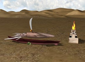 The squid is on the large surfboard.  The squid is facing west.  The surfboard is facing west.    The surfboard is brown.  The sword is upside down.  The sword is facing southeast. The sword is on the squid. The surfboard is on the desert. The tiny bulldozer is behind the surfboard.  The tiny bulldozer is 1.5 feet to the right.  The large fire is on the bulldozer.  The bulldozer is rusty.  The lettuce is in front of the surfboard.