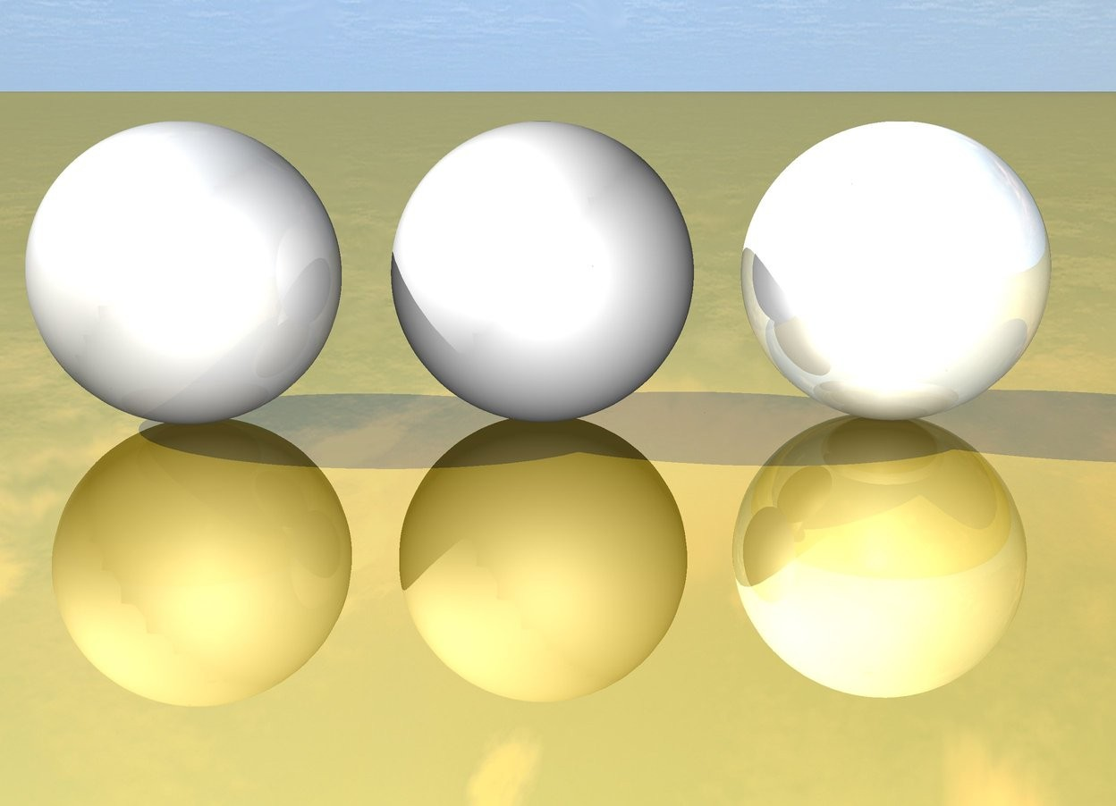 Input text: The dull sphere is two inches to the left of the unreflective sphere. The unreflective sphere is 2 inches to the left of the shiny sphere. The ground is gold.