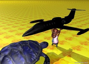 The ground is fire. a black jet is ten feet above the ground. the jet is above the large man. the large man is leather. An extremely large blue turtle is three feet in front of the large man.the turtle is facing the man