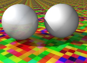The dull sphere is two inches to the left of the unreflective sphere. the ground is [texture]. the camera light is grey.