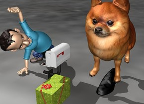 the small man is facing the large dog. the large dog is in the shoe.  5 small boxes are on the ground next to the small man.
