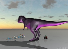 There is a giant purple tyrannosaurus rex. There is an extremely large bag. the bag is [rainbow]. 12 large children are in front of the tyrannosaurus rex. the 12 children are facing the tyrannosaurus rex.