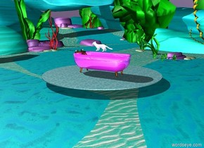 An enormous shiny magenta bathtub faces east. An enormous chrome marten is  above the bathtub. It is facing west. A lake is 5 feet above the ground.