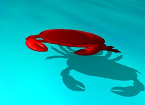 A red crab. it is leaning north.