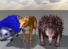 The blue hedgehog is next to the red fox. The hedgehog is 1 foot high. The red echidna is to the right of the fox.