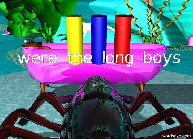 "Input text: An enormous shiny magenta bathtub faces east. An enormous chrome marten is  above the bathtub. It is facing west. A lake is 5 feet above the ground.  20 foot tall transparent lobster is in front of bathtub.  huge blue cylinder is above the lobster. it is 6 foot tall. it is leaning 10 degrees to the front.  huge yellow cylinder is 1 foot to the left of the blue cylinder.  it is 6 foot tall. it is leaning 10 degrees to the front.  huge red cylinder is 1 foot to the right of the blue cylinder.  it is 6 foot tall. it is leaning 10 degrees to the front.  ""were the long boys"" is in front of blue cylinder."