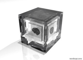 there is a transparent 20 foot tall cube. there is a transparent 15 foot tall cube 17.5 feet inside the 20 foot tall cube. there is a transparent 10 foot tall cube 12.5 feet inside the 15 foot tall cube. there is a 5 foot tall shiny silver brain 7.5 feet inside the 10 foot tall cube. the sky is white. the ground is white. a large dim white light is 100 feet above the 20 foot tall cube.