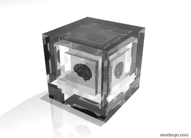 Input text: there is a transparent 20 foot tall cube. there is a transparent 15 foot tall cube 17.5 feet inside the 20 foot tall cube. there is a transparent 10 foot tall cube 12.5 feet inside the 15 foot tall cube. there is a 5 foot tall shiny silver brain 7.5 feet inside the 10 foot tall cube. the sky is white. the ground is white. a large dim white light is 100 feet above the 20 foot tall cube.