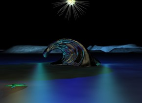 the silver wave. there is a blue light above the wave. there is a cyan light to the left of the wave. there is a turquoise light to the right of the wave. there is a purple light to the left of the wave. it is night. the star is 2 feet above the wave. the starfish is 8 feet in front of the wave. there is a gold light above the starfish.