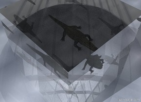 the crocodile is 10 feet inside of a transparent cube. the cube is 20 feet wide. there is no ground. there is no sky.  the crocodile is schizophrenic, therefore he can never be alone.