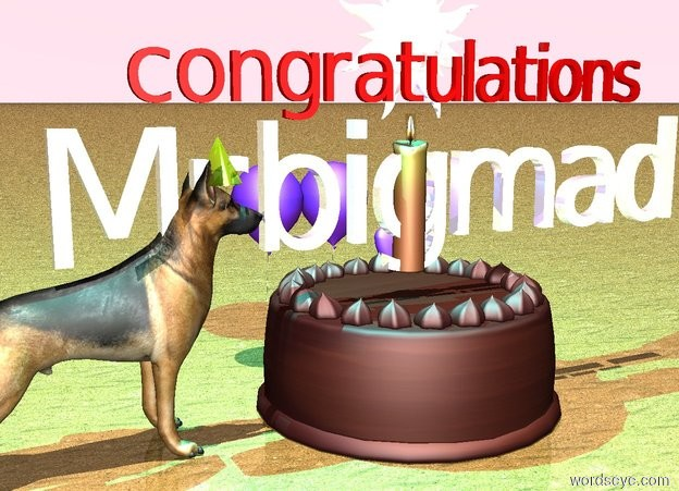 """Input text: there is a giant cake. shiny Mrbigmad is above the cake. there are 3 blue violet balloons behind the cake. there is a giant candle in the cake. the ground is sand. the sky is pink. there is a dog to the left of the cake. it is facing the cake. a gold party hat is -9 inches above the dog. the gold party hat is facing the cake. it is 3 inches away from the cake. it is noon. chrome star above shiny Mrbigmad. small red """"congratulations"""" in front of the star. there is a giant cyan light on the gold party hat."""