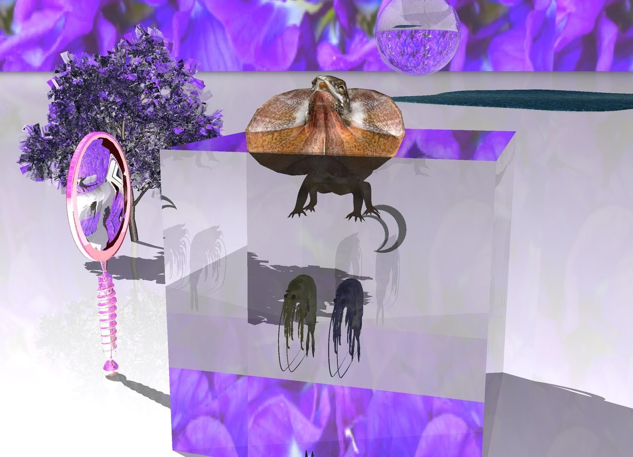 Input text: enormous lizard is in enormous  transparent cube.  enormous blue shrimp is 2.5 feet under lizard. enormous yellow shrimp is 1 foot to the left of blue shrimp.   moon symbol is 2 feet behind lizard and 5 feet above the ground.  very large transparent sphere is 4 feet behind the cube and 12 feet above the ground.  an enormous reflective mirror is 5 feet to the left of the cube. the mirror is facing the cube.  ground is white. sky is [green pea].  transparent tree is 10 feet behind cube and 10 feet to the left.  lake is 200 feet behind the cube.
