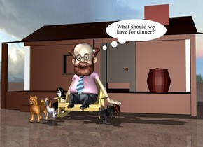 There is a man in front of a house. the man is on the chair. the ground is dirt. there are 3 dogs next to the chair. there are 3 cats on the right of the chair.