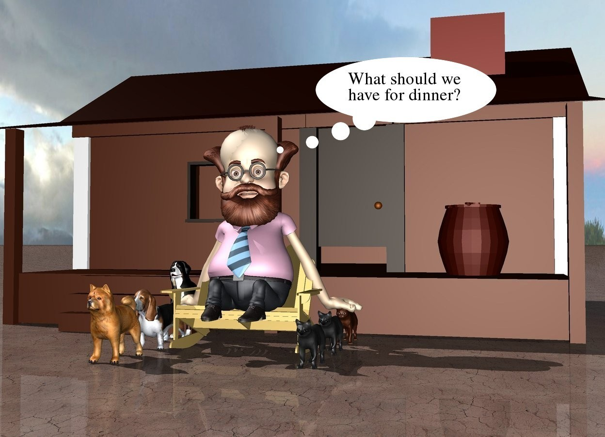 Input text: There is a man in front of a house. the man is on the chair. the ground is dirt. there are 3 dogs next to the chair. there are 3 cats on the right of the chair.