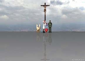 there is a soldier. next to the soldier is a scientist. next to the scientist is a man that is 20 inches tall. there is a dog. the dog is upside down. the dog is 50 inches tall. the scientist is facing the soldier. there is a cross above the scientist. next to the soldier is a heart. next to the heart is a large fish.