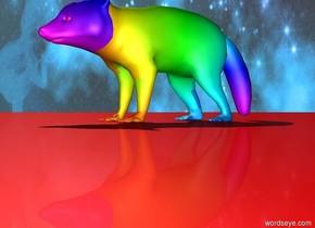 rainbow raccoon. [galaxy] sky. red ground.