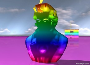 rainbow bust. rainbow piano 50 feet behind bust. [galaxy] ground. giant lightning in front of piano. lightning -2 inches above bust.