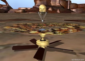 the skull fits in the glass. the ceiling fan is on the ground. the glass is a couple inches above the ceiling fan. the small rat is two feet behind the fan. the rat is facing the fan.