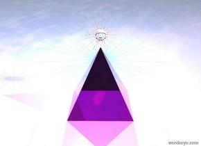 The ground is shiny. There is a transparent magenta pyramid on the ground. It is morning. There is a magenta light above the pyramid. There is a shiny eye 1.5 inches above the pyramid. A very small white star is 2 inches behind the eye and 6.5 inch above the ground. There is a cyan light behind the star.