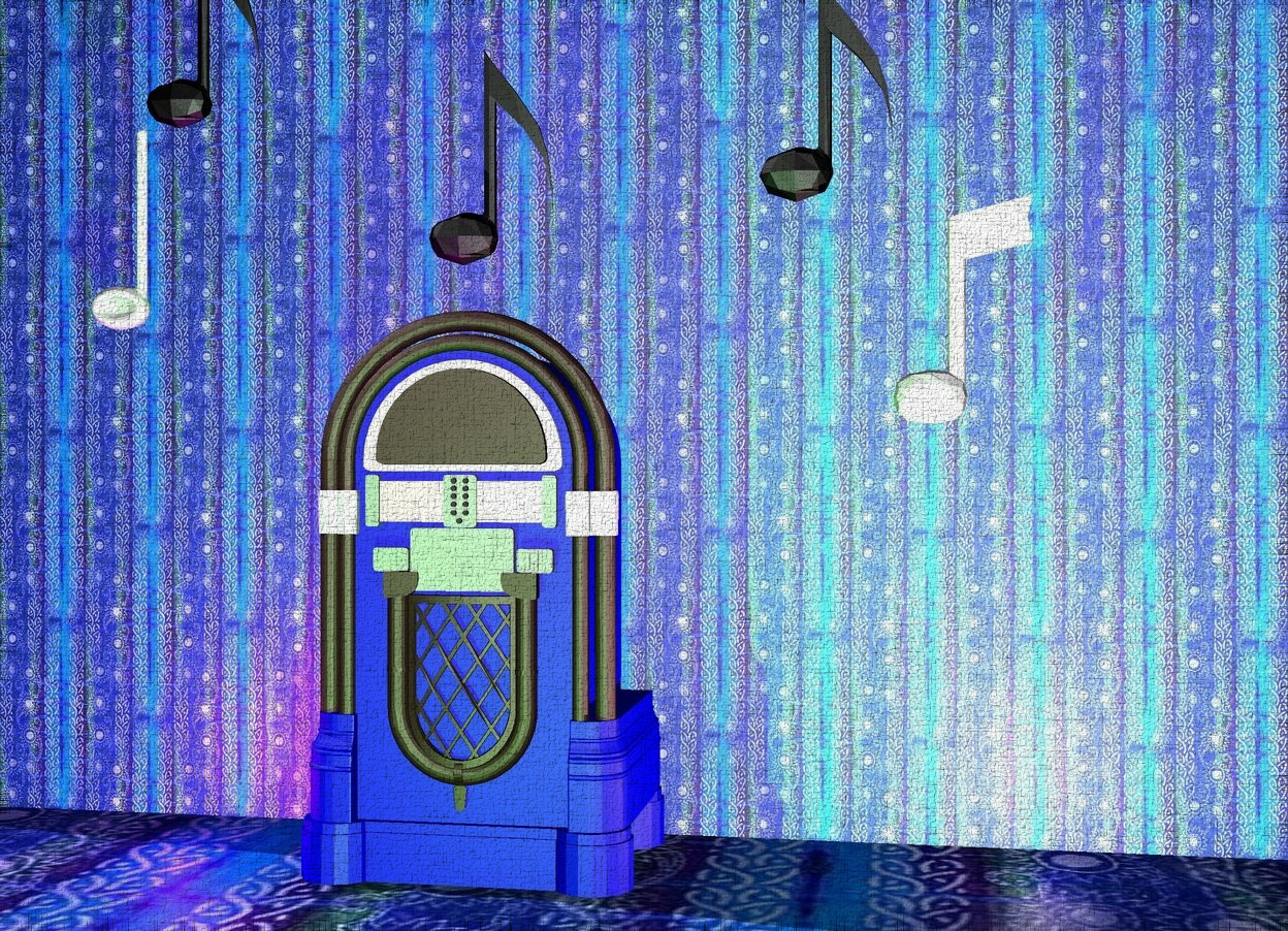Input text: a [texture] wall is behind the blue jukebox. it is 12 feet tall. the first music note is 1 foot to the right and 1 foot above the jukebox. the second music note is to the right and below the first music note. the ground is [texture]. the third music note is 6 inches above the jukebox. the fourth music note is 1 foot to the left and 2 feet above the jukebox. the fifth music note is below and to the left of the fourth music note. there is a pink light 3 feet to the right of the jukebox. there is a green light 2 feet in front of the jukebox. there is a magenta light 1 foot to the left of the jukebox.