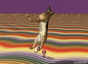 the dog is on the man. the man is 10 inches tall. the dog is facing up. the ground is rainbow. the sky is purple.