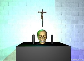 There is a wall. It is grey. It is made of brick. It is 10 feet tall and 10 feet wide. There is a black cube in front of the wall. The cube is 3 feet tall. There is a skull on the cube. There is a candle 3 inch right of the skull. The candle is 9 inch tall. The candle is black. 2nd candle is 2 inch left of the skull. The 2nd candle is black. It is 9 inch tall. A cross is 2 inch above the skull. It is 15 inch tall. There is a green light above the candle. There is a cyan light above the 2nd candle. There is a blue light right of the cube. It is night. A white light is behind the skull.
